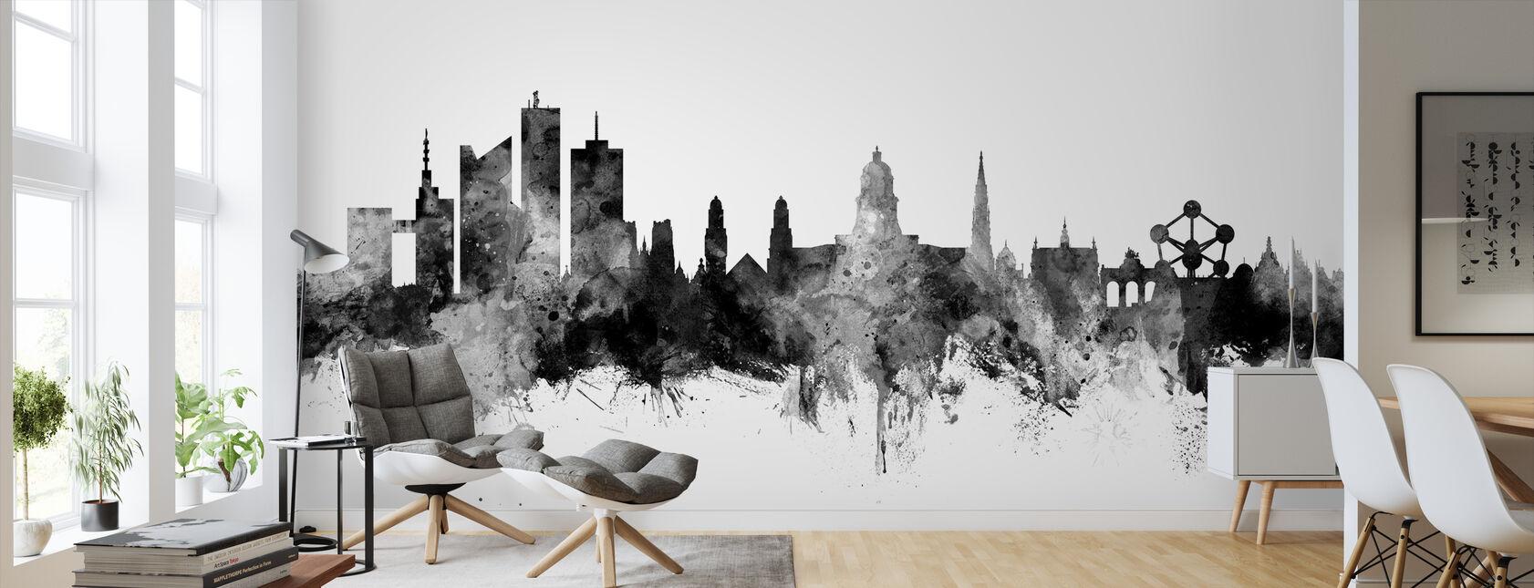 Brussels Skyline Black - Wallpaper - Living Room