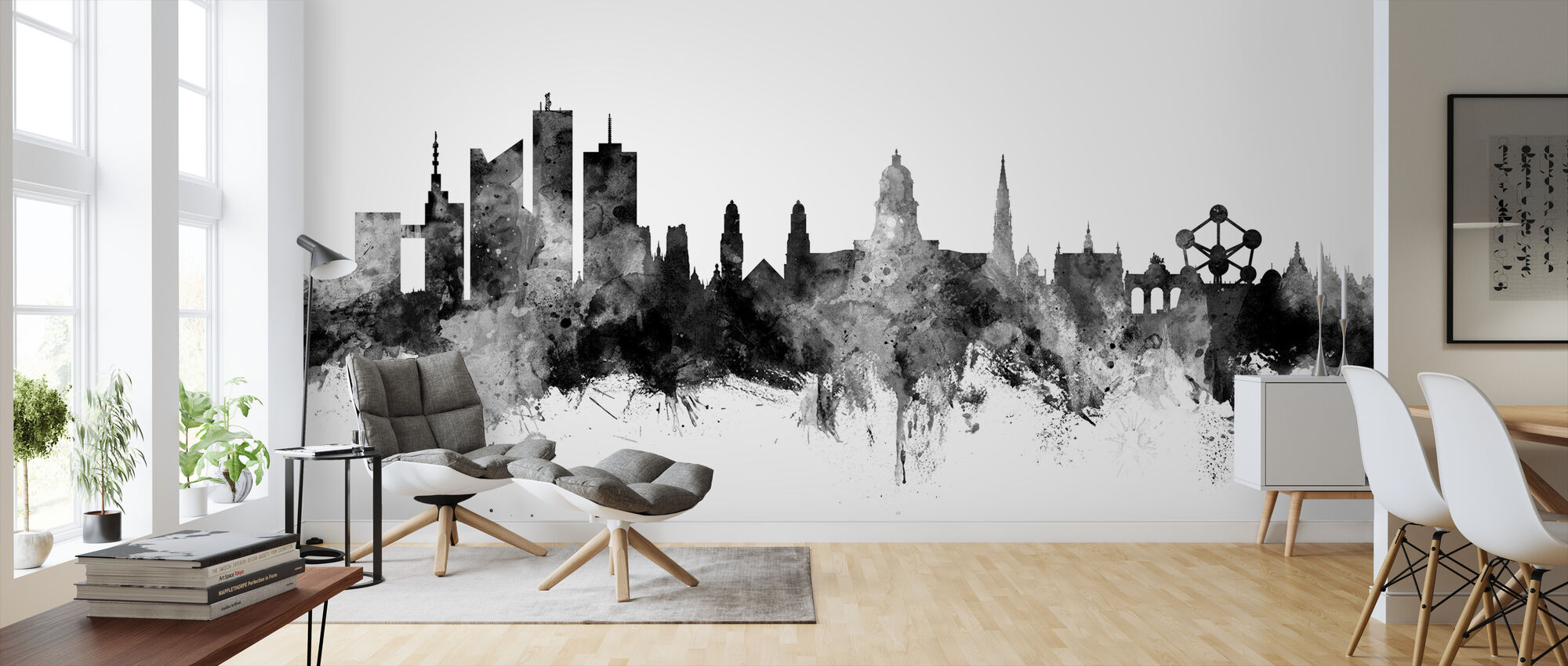 Brussels Skyline Black - Wallpaper - Living Room