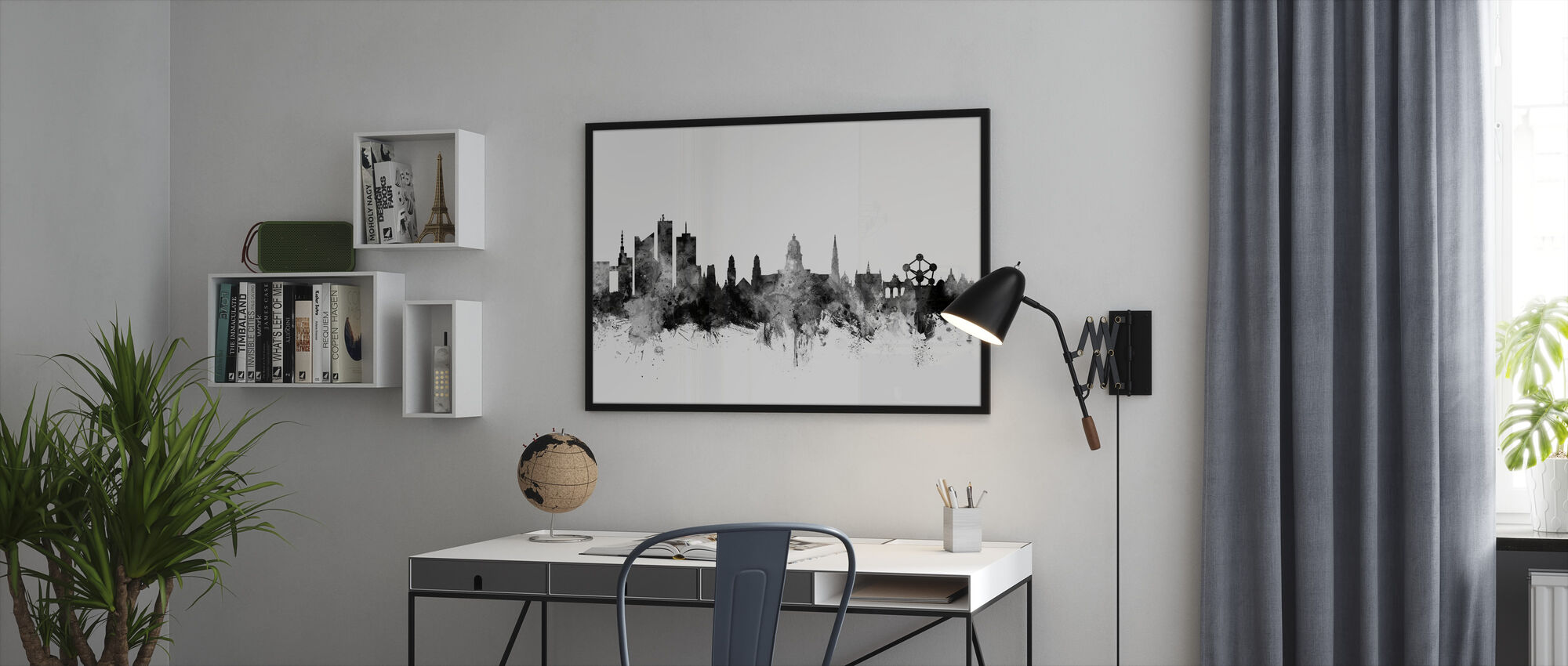 Brussels Skyline Black - Framed print - Office