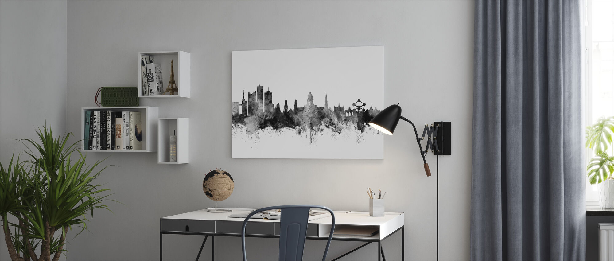 Brussels Skyline Black - Canvas print - Office