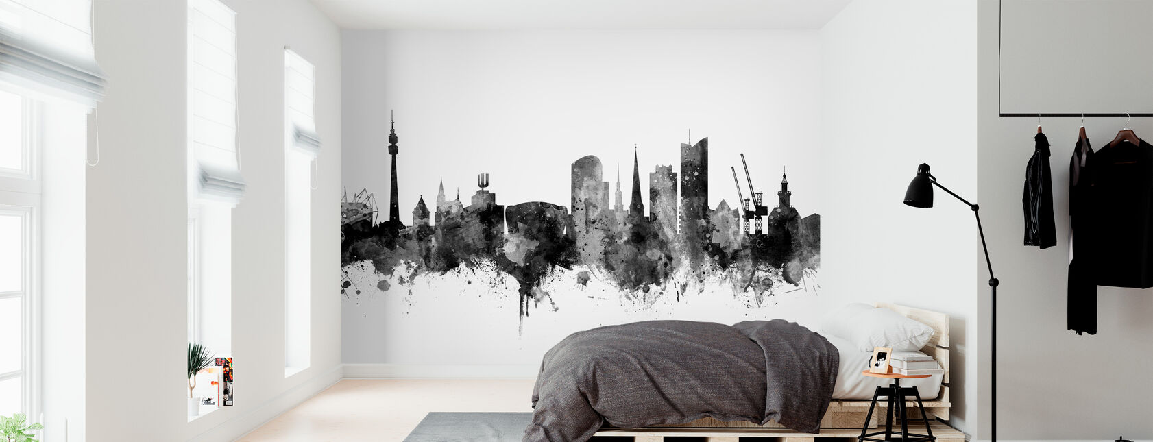 Dortmund Skyline Black - Tapete - Schlafzimmer