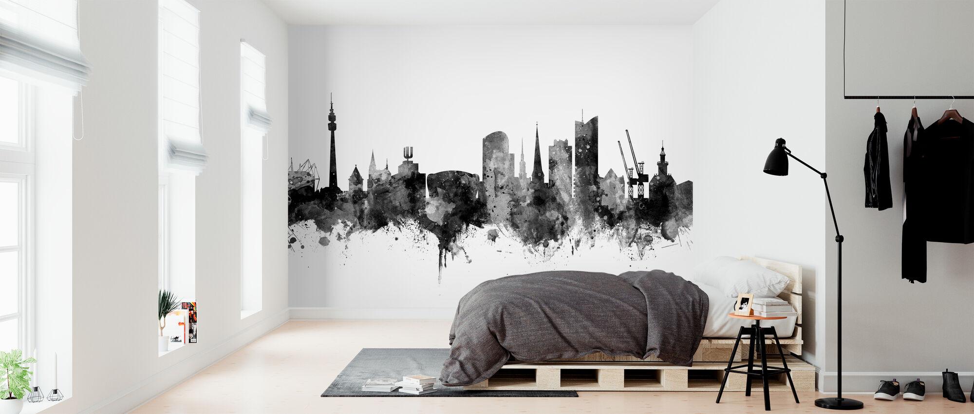Dortmund Skyline Black - Wallpaper - Bedroom
