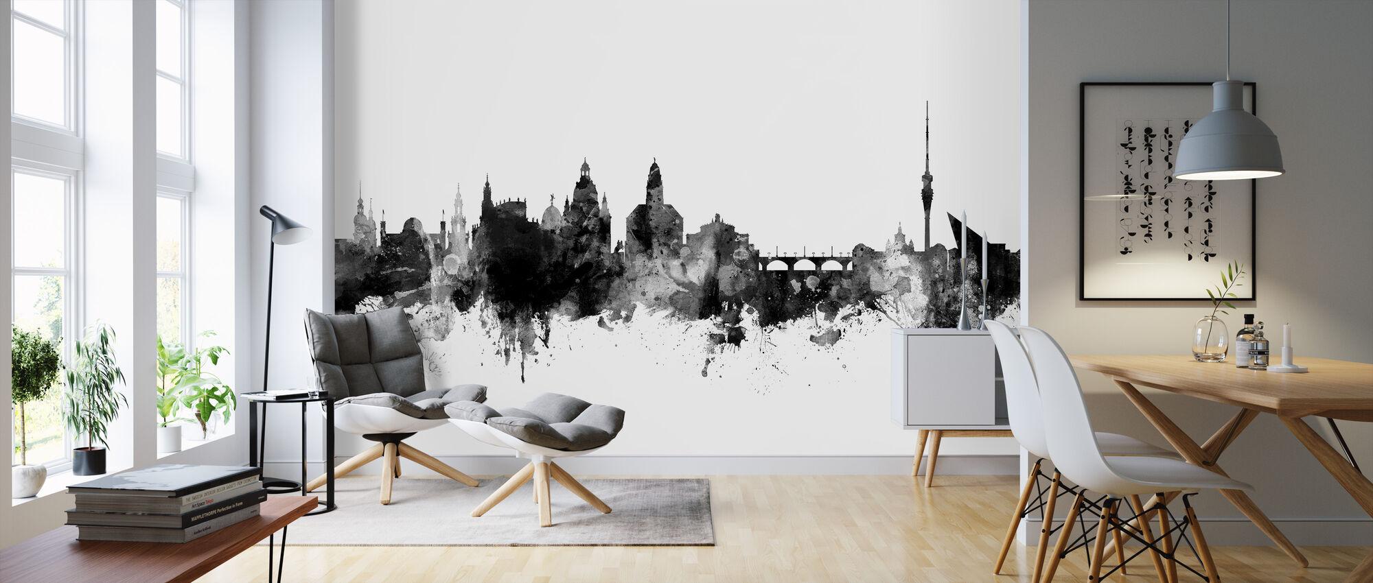 Dresden Skyline Schwarz - Tapete - Wohnzimmer