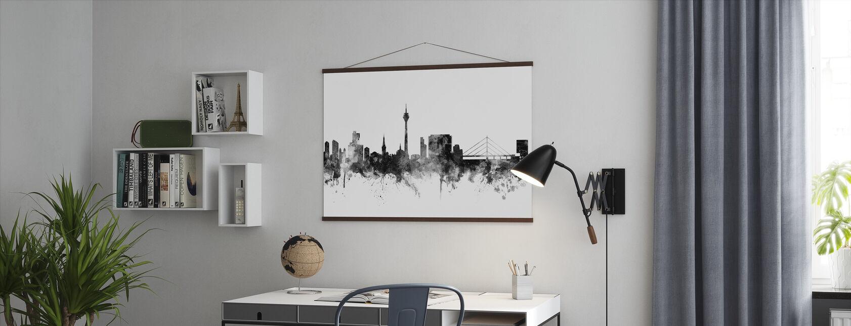 Du ̈ sseldorf Skyline Schwarz - Poster - Büro