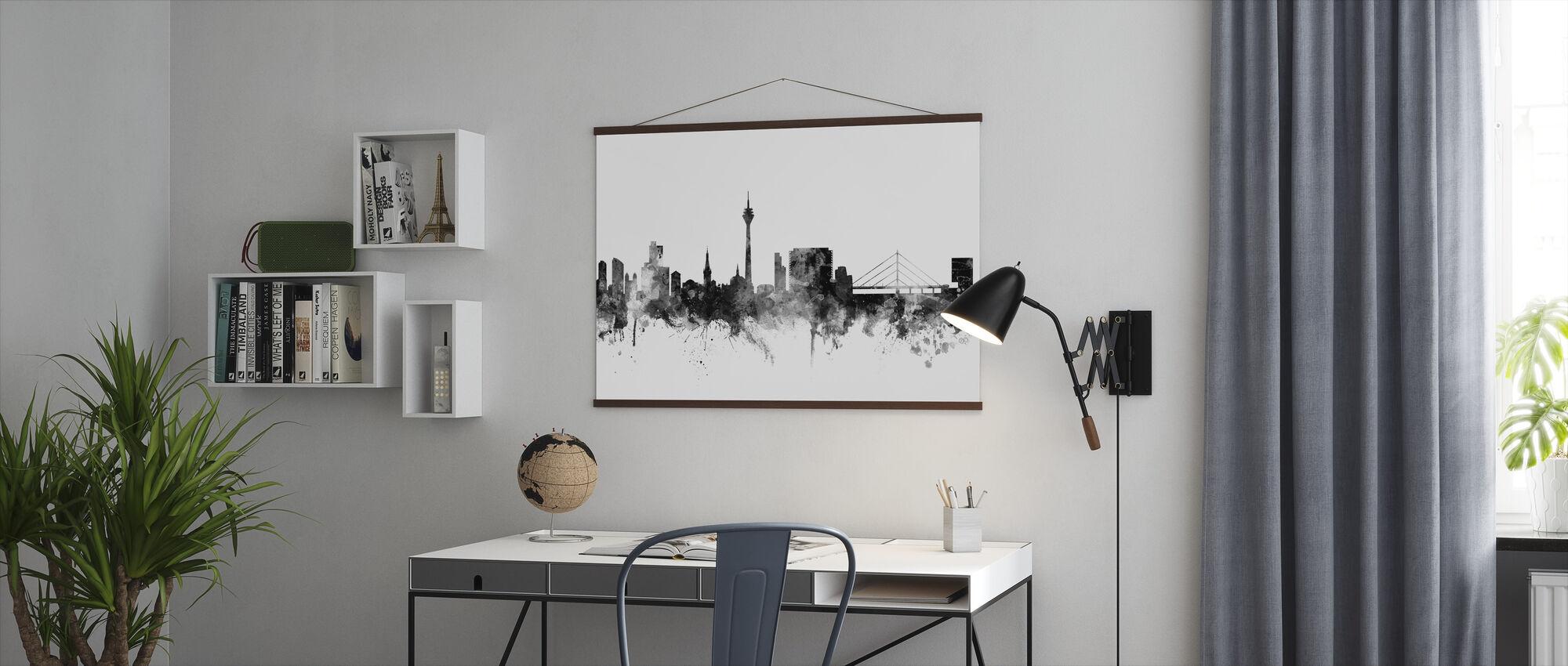 Du ̈ sseldorf Skyline Zwart - Poster - Kantoor