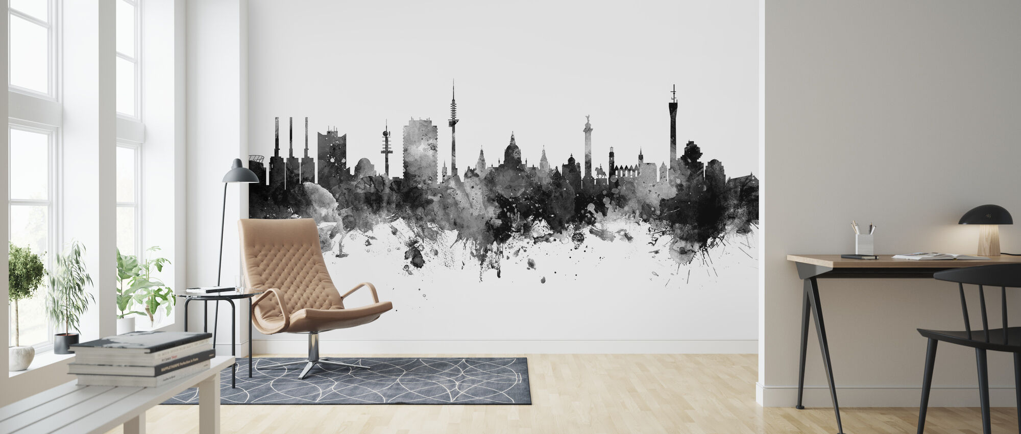 Hannover Skyline Black - Wallpaper - Living Room