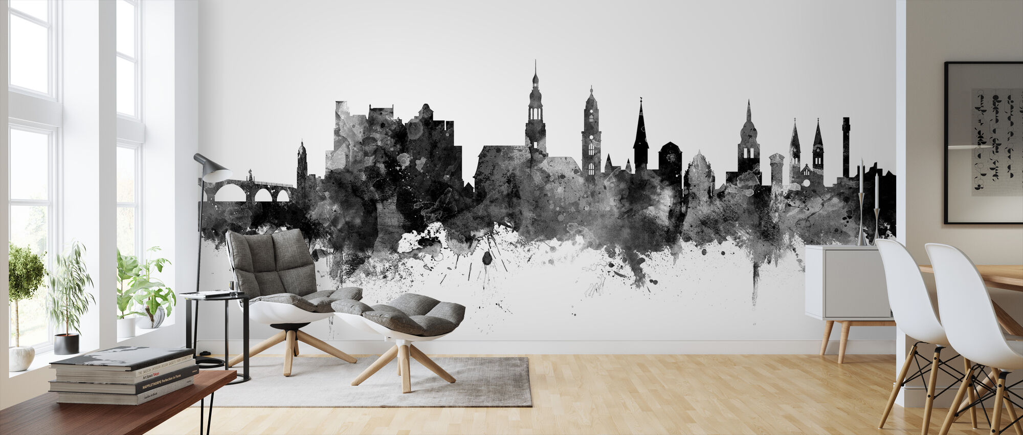 Heidelberg Skyline Black - Wallpaper - Living Room