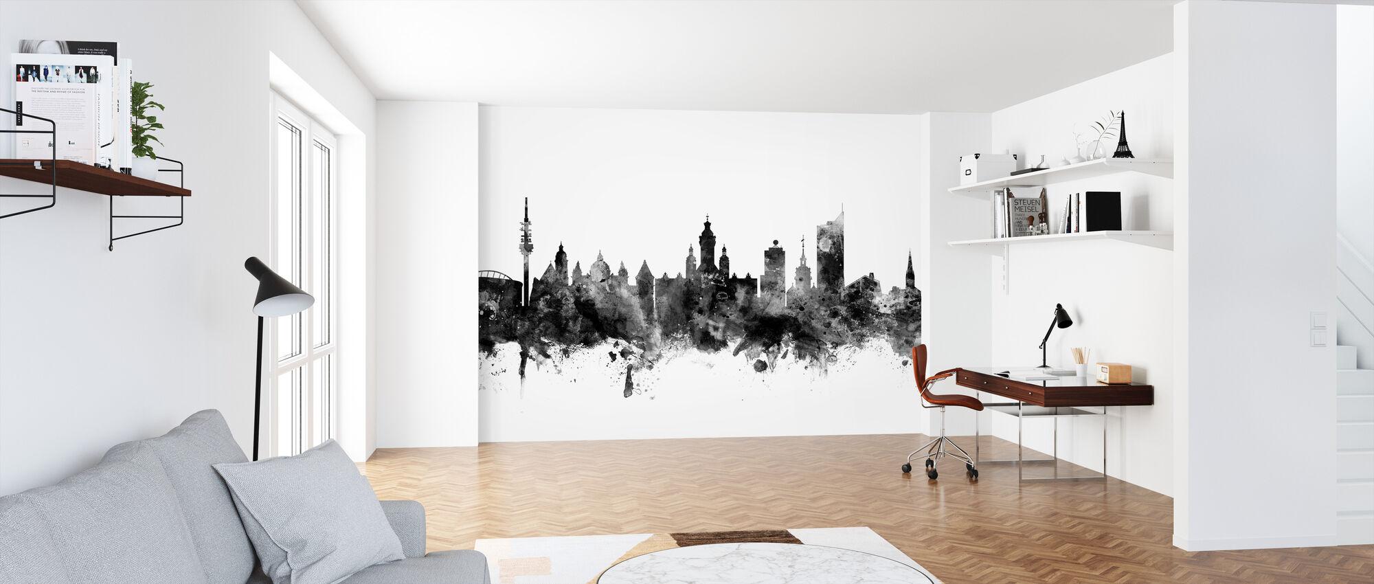 Leipzig Skyline Black - Wallpaper - Office