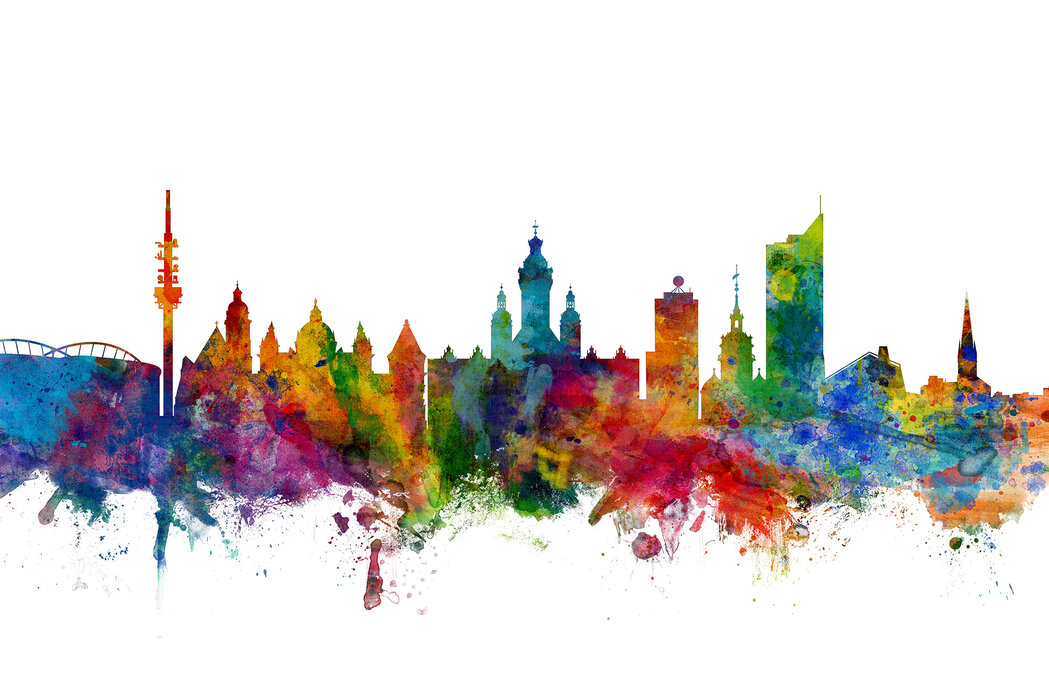 Leipzig Skyline Affordable Wall Mural Photowall