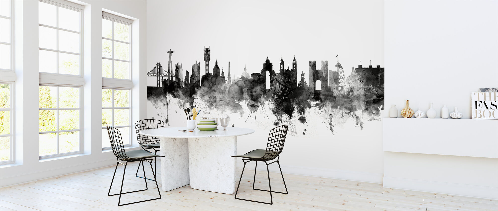 Lisbon Skyline Black - Wallpaper - Kitchen