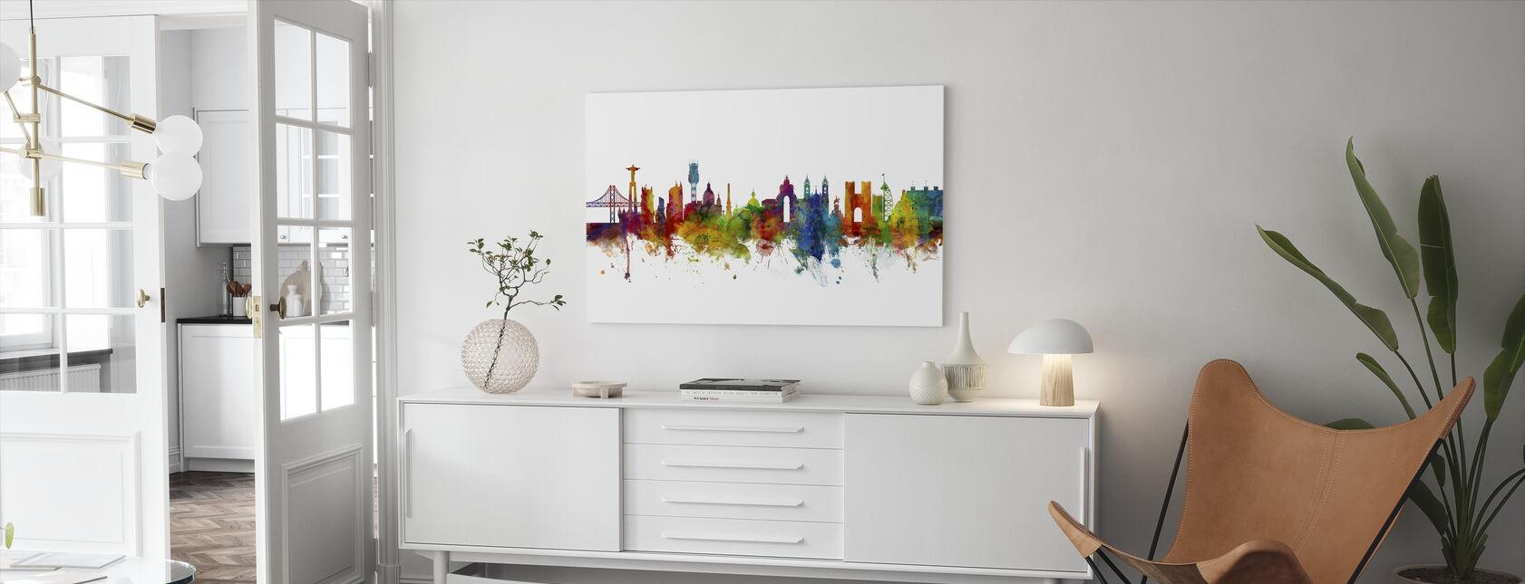Lisbon Skyline - Canvas print - Living Room