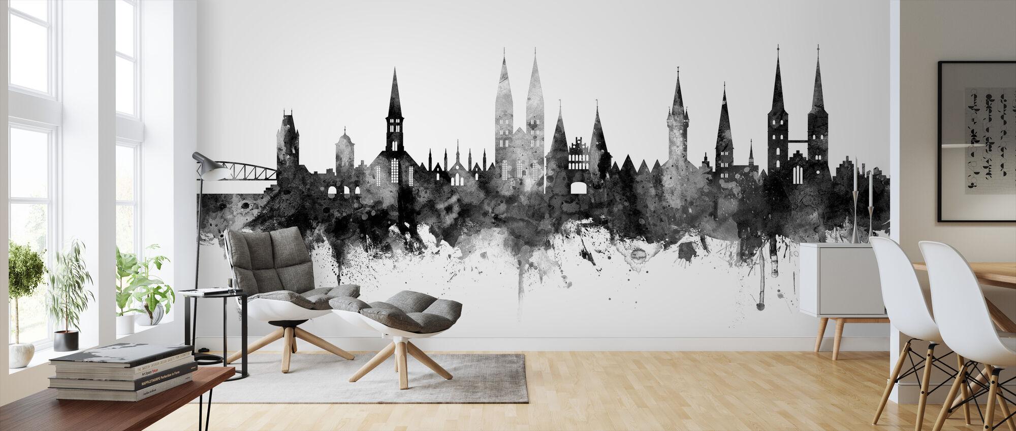 Lübeck Skyline Black - Wallpaper - Living Room
