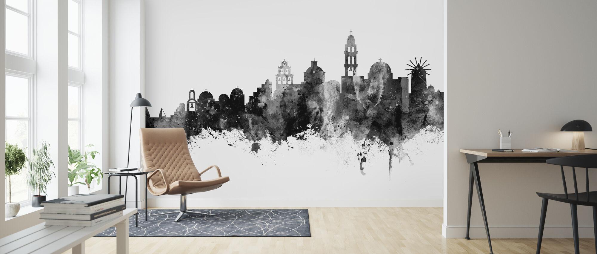 Santorini Greece Skyline Black - Wallpaper - Living Room