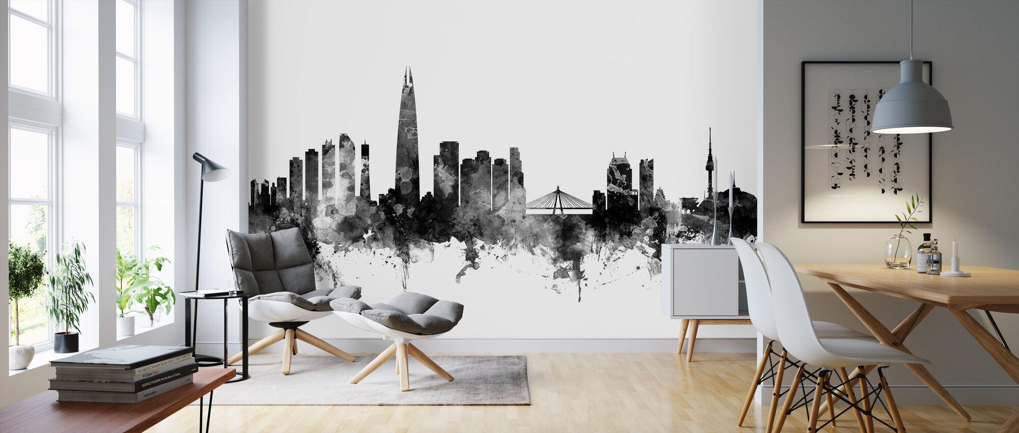 Seoul Skyline Black - Wallpaper - Living Room