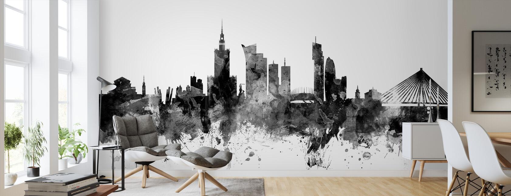 Warsaw Skyline Black - Wallpaper - Living Room