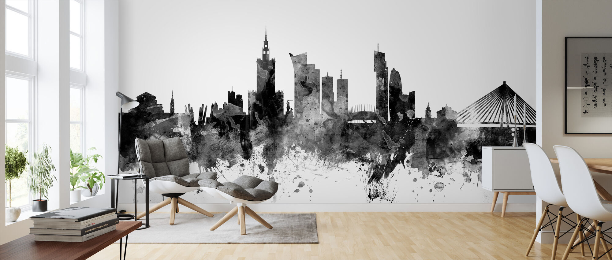Warsaw Skyline Black - Wallpaper - Living Room