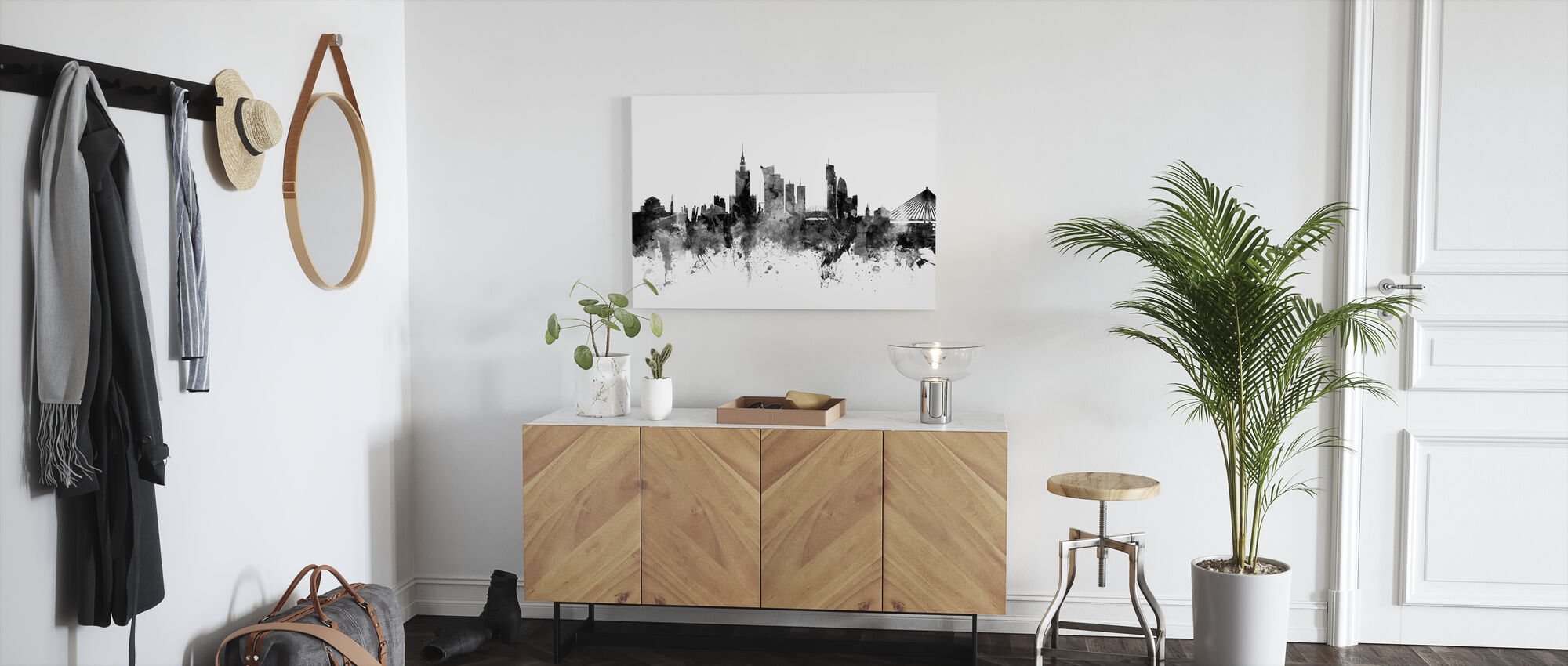 Warsaw Skyline Black - Canvas print - Hallway