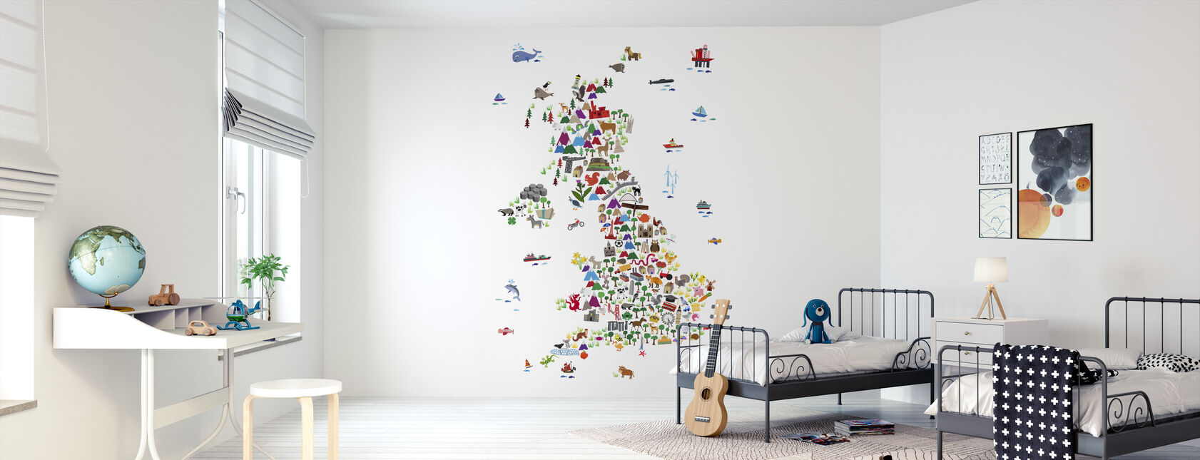 Animal Kaart Verenigd Koninkrijk - Behang - Kinderkamer