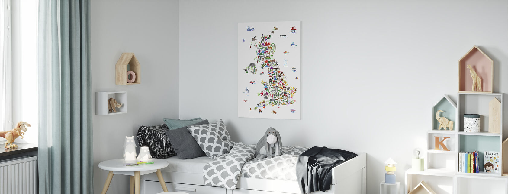 Animal Map UK - Canvas print - Kids Room
