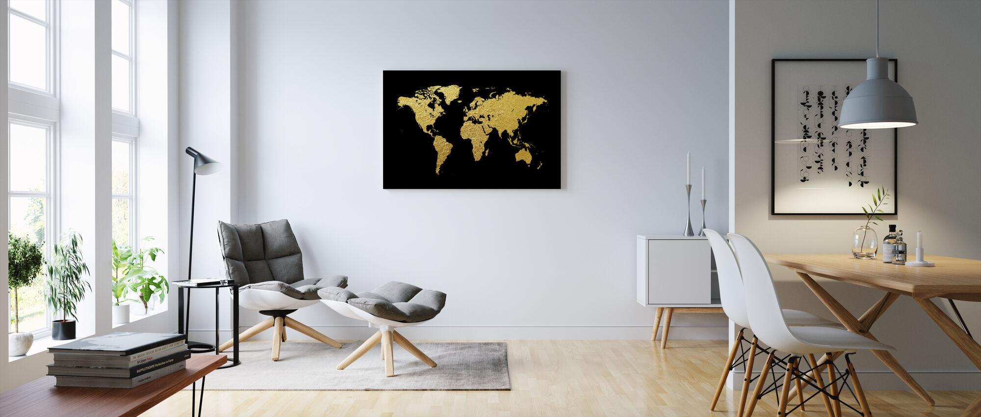 Carte du monde en or avec fond noir - Impression sur toile - Salle à manger