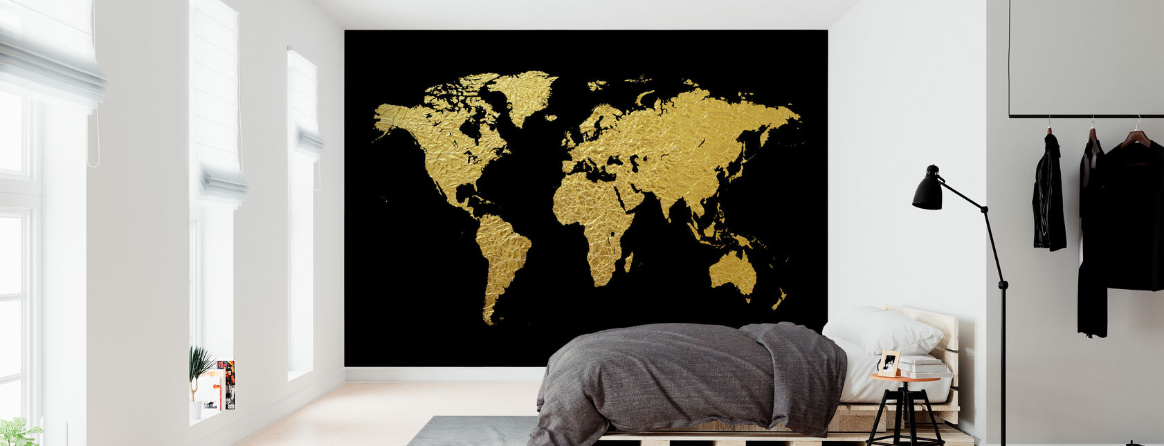 Kultainen maailmankartta mustalla taustalla - Tapetti - Makuuhuone