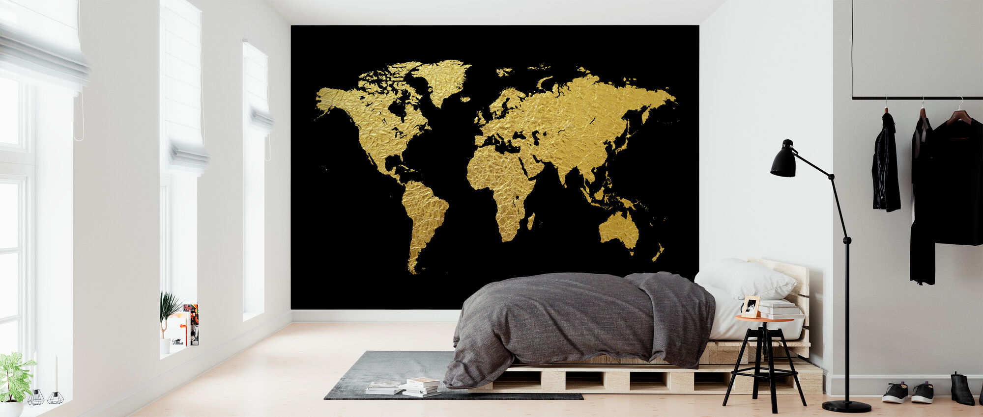 Gold World Map with Black Background - Wallpaper - Bedroom