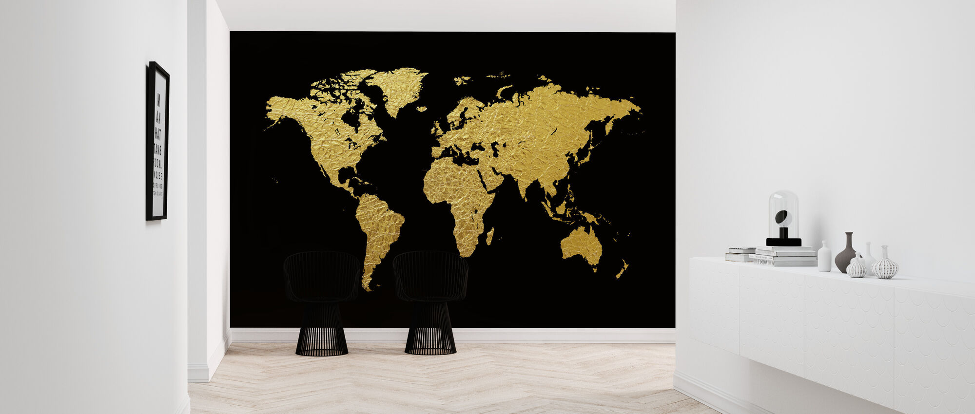 Gold World Map With Black Background