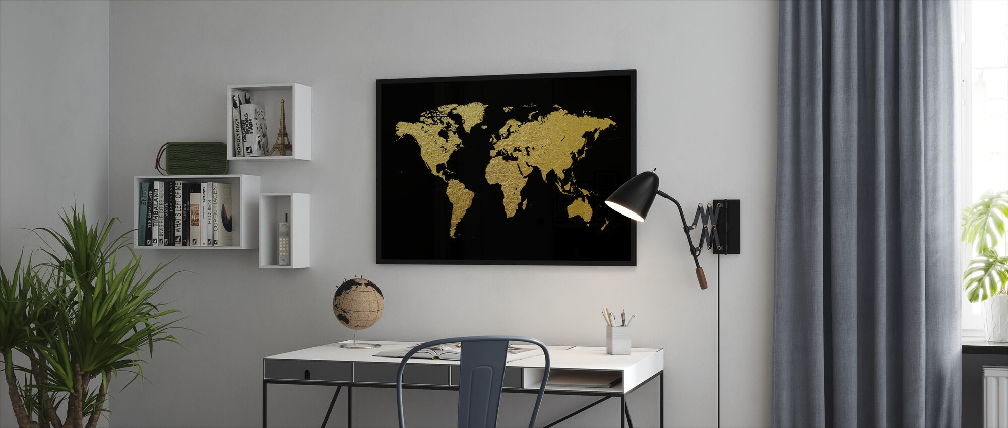 Gold World Map with Black Background - Framed print - Office