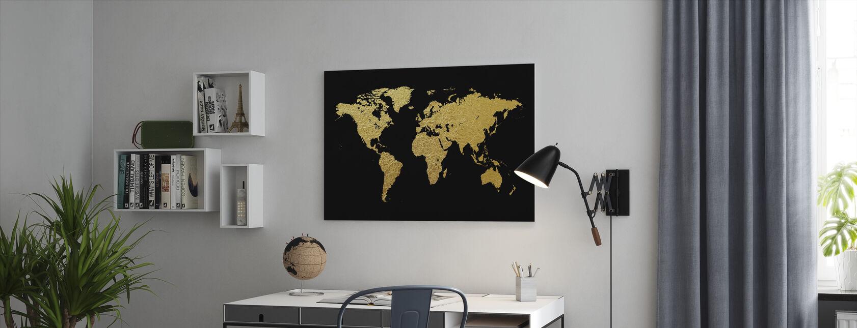 Guldverdenskort med sort baggrund - Billede på lærred - Kontor