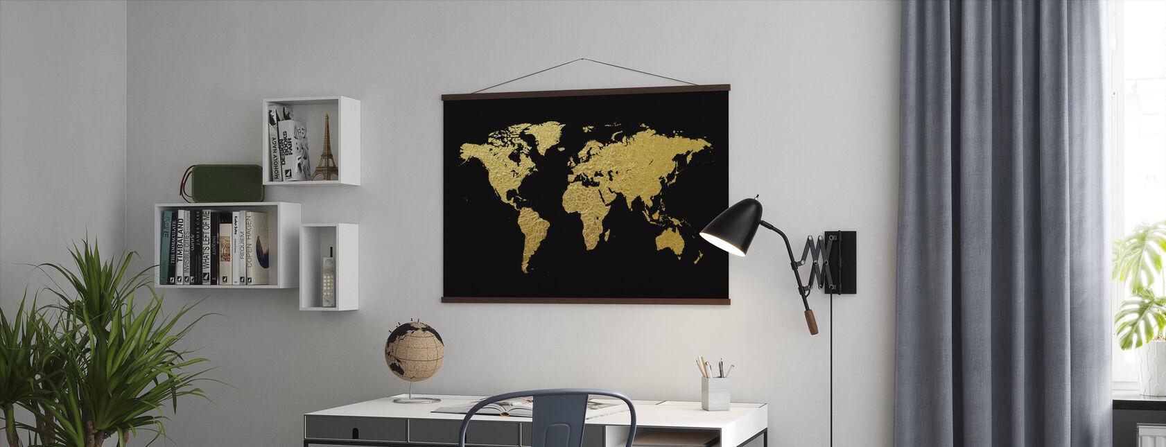 Kultainen maailmankartta mustalla taustalla - Juliste - Toimisto