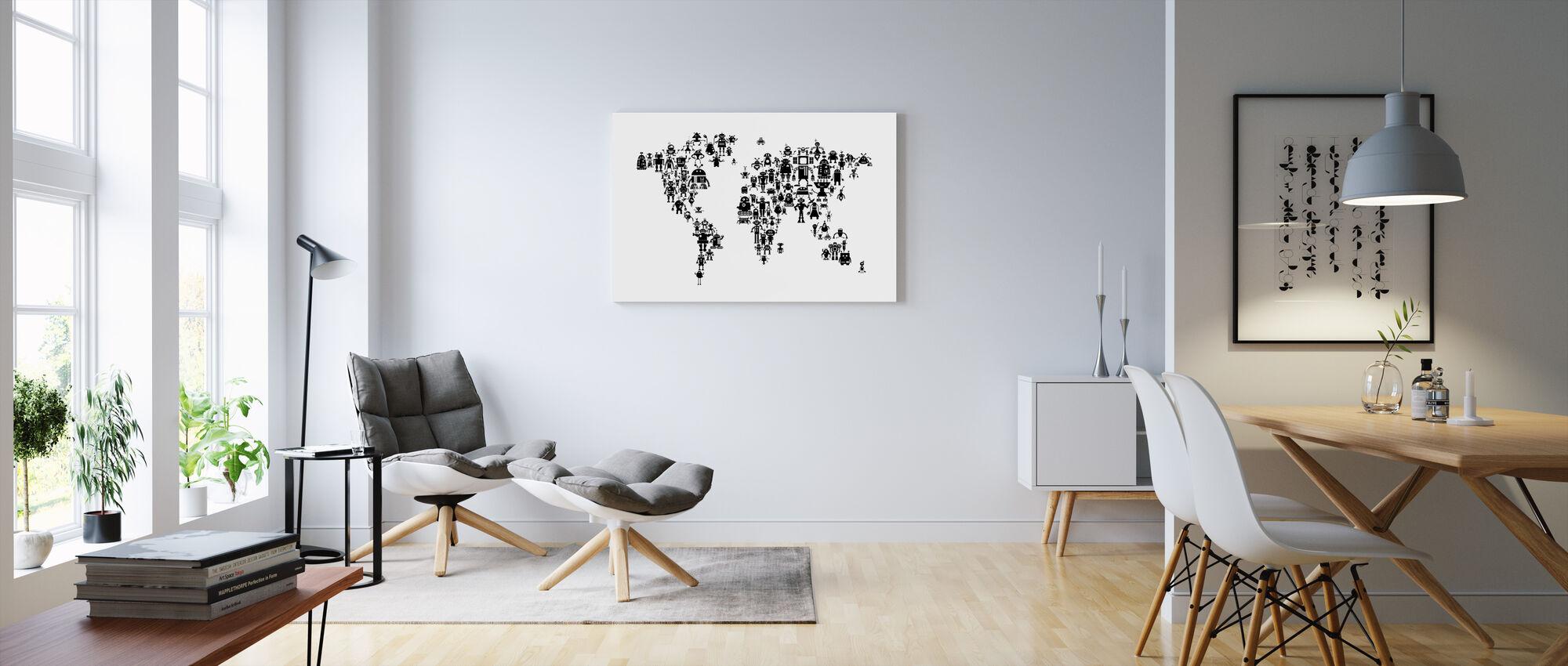 Robots World Map Black - Canvas print - Living Room