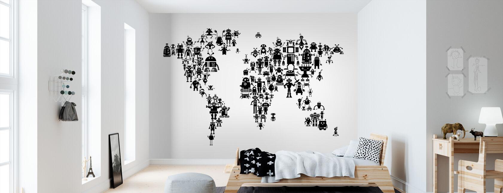 Robotit maailmankartta Musta - Tapetti - Lastenhuone