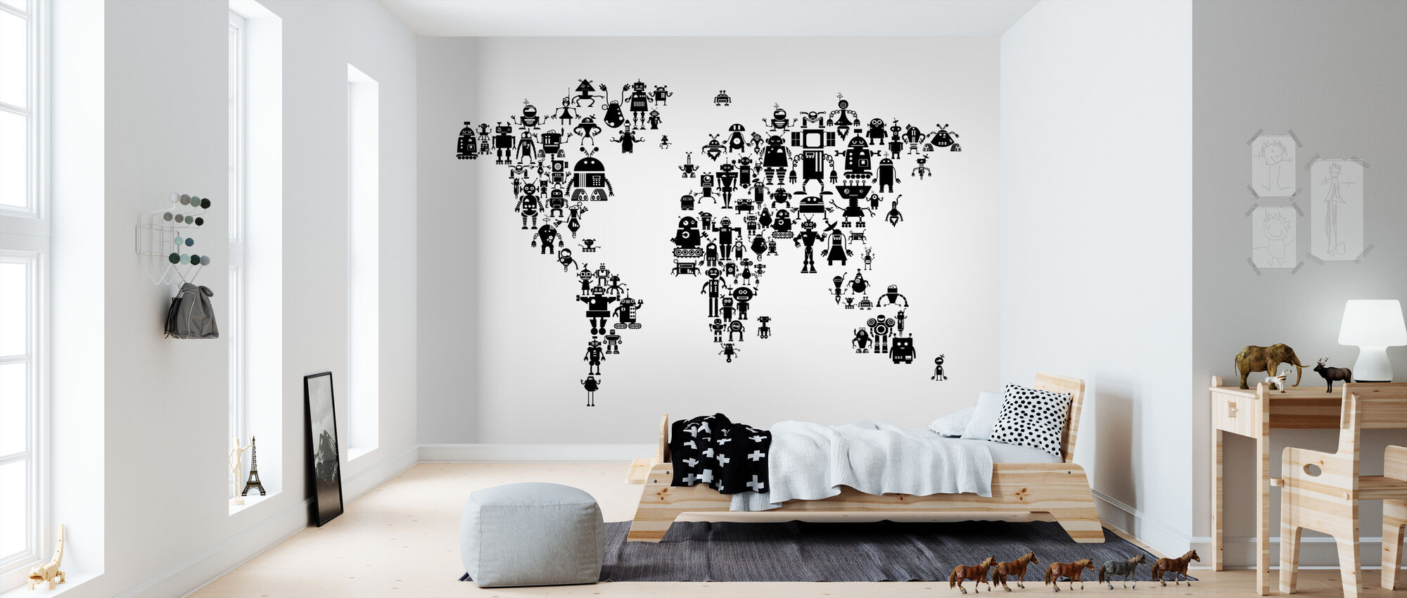 Robots World Map Black - Wallpaper - Kids Room