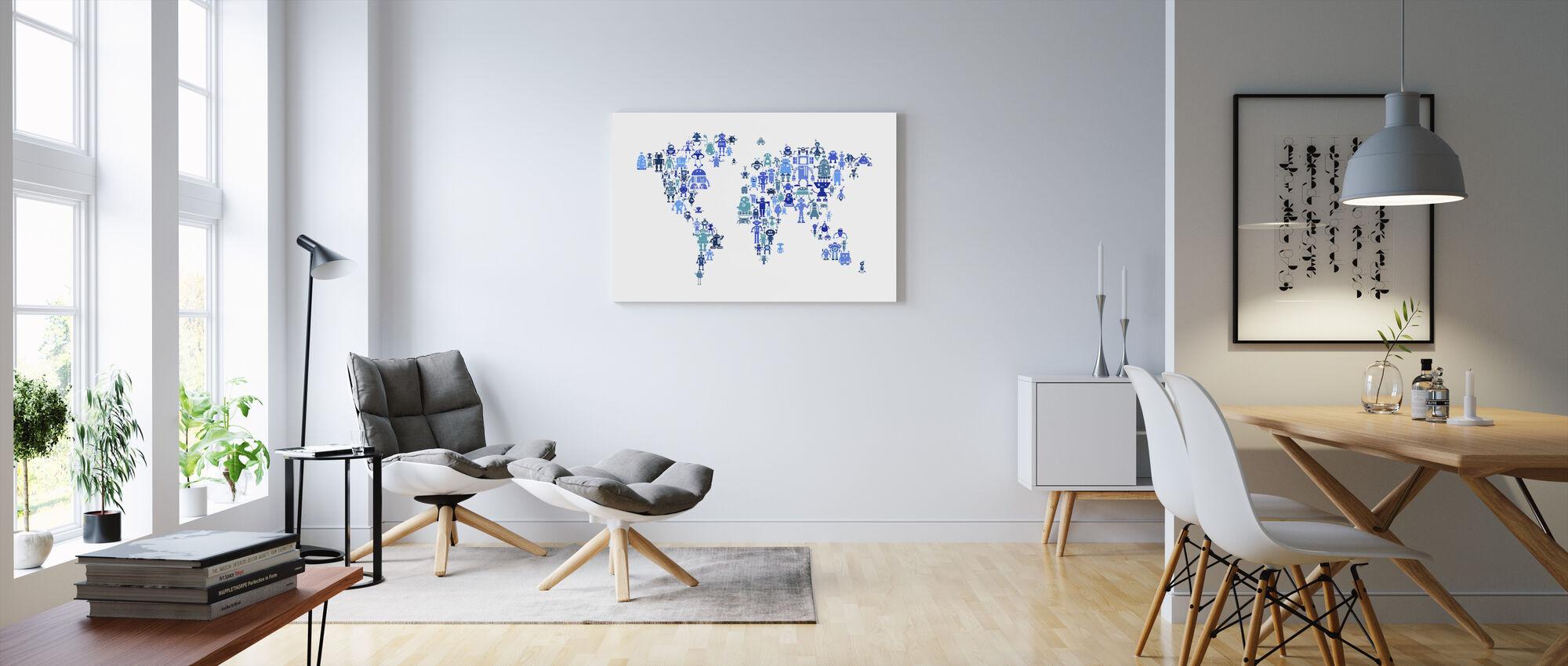 Robotar World Karta Blå - Canvastavla - Vardagsrum
