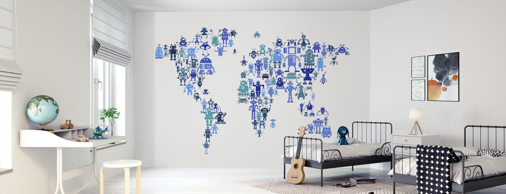 Robots Weltkarte Blau - Tapete - Kinderzimmer