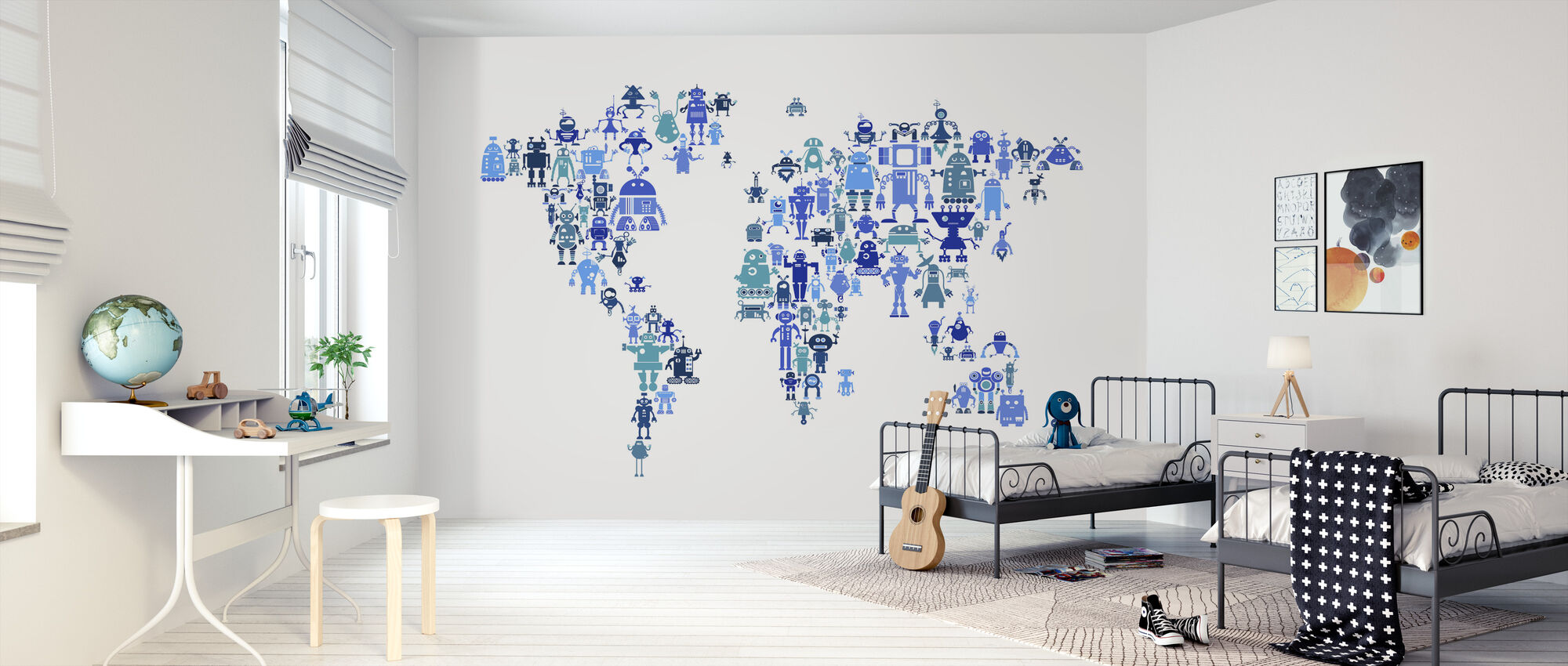 Robots World Map Blue - Wallpaper - Kids Room