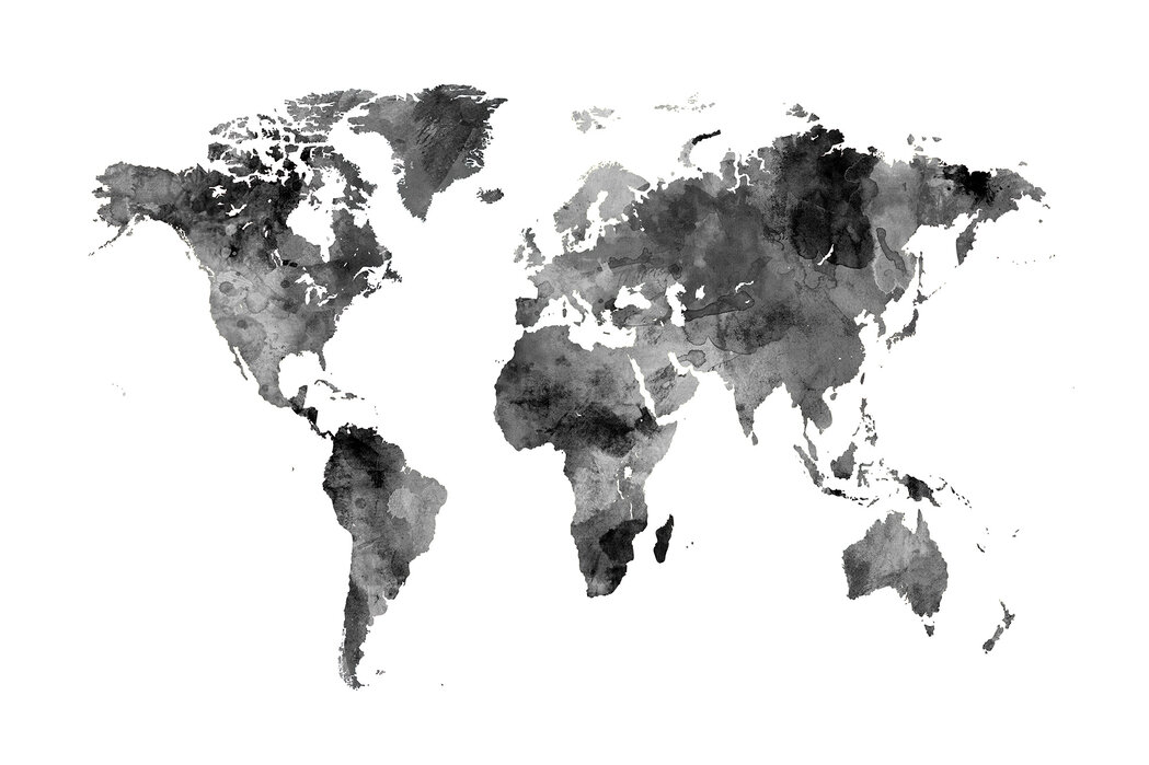 Watercolour World Map Black – Stimmungsvolles Leinwandbild ...