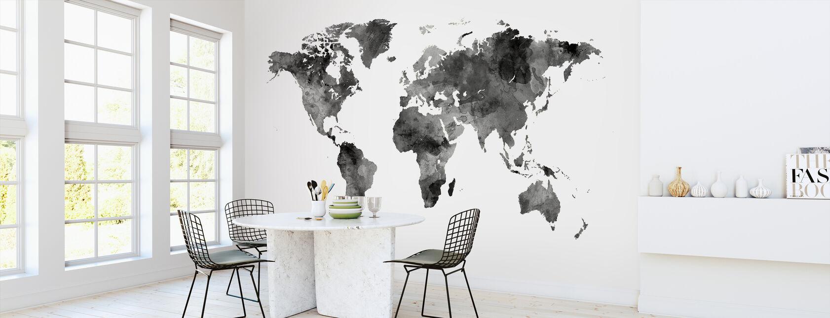 Vesiväri World Kartta Musta - Tapetti - Keittiö