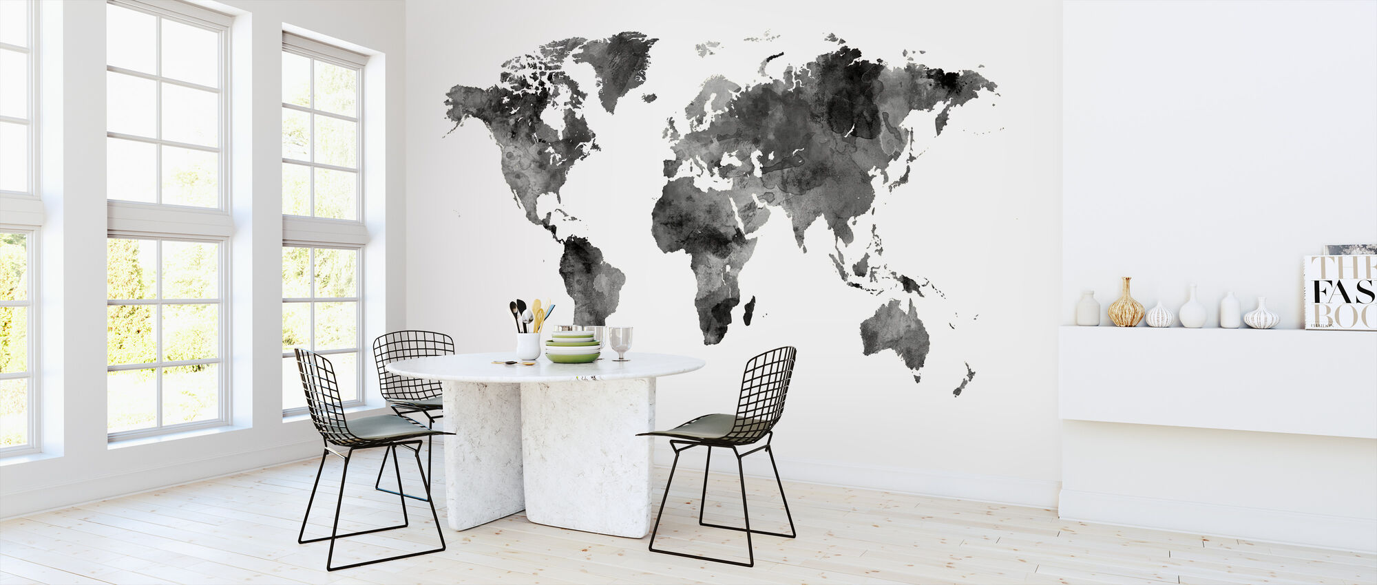 Watercolour World Map Black - Wallpaper - Kitchen
