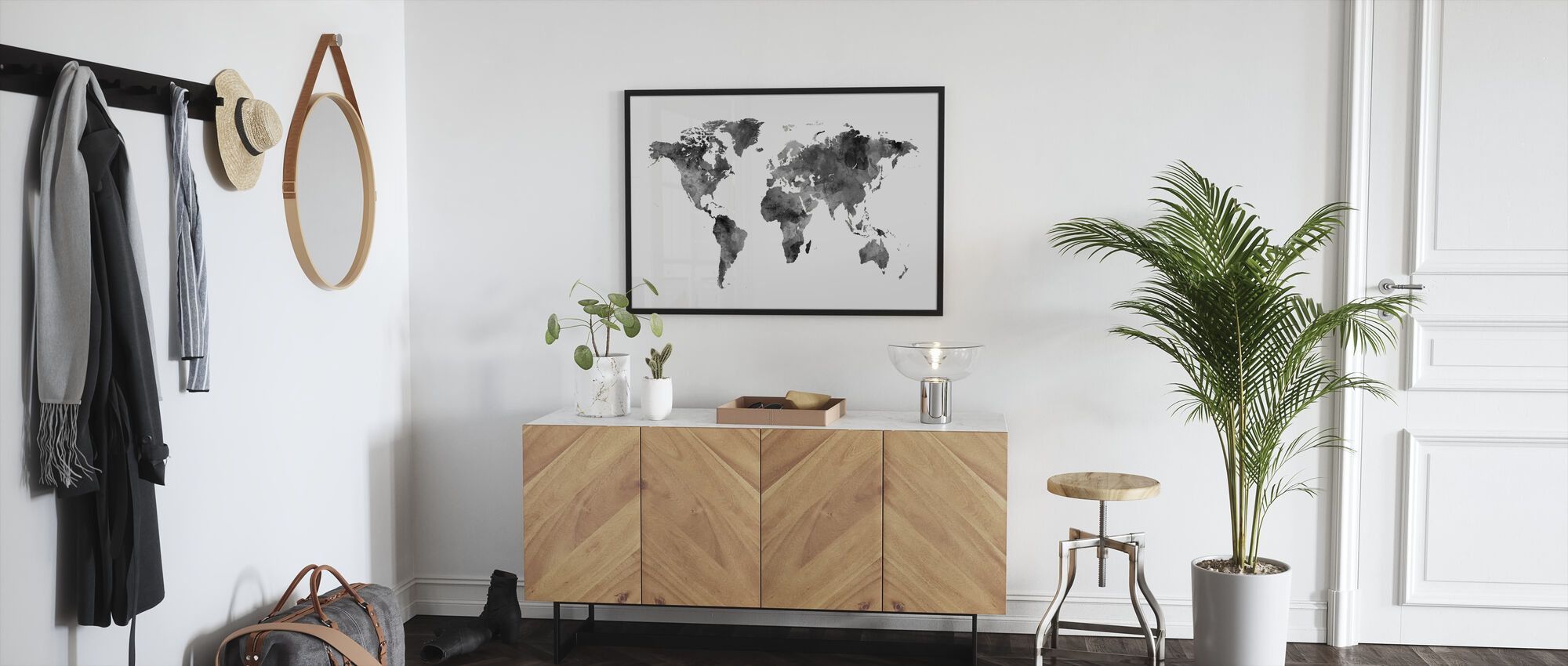 Akvarell World Map Svart - Innrammet bilde - Gang
