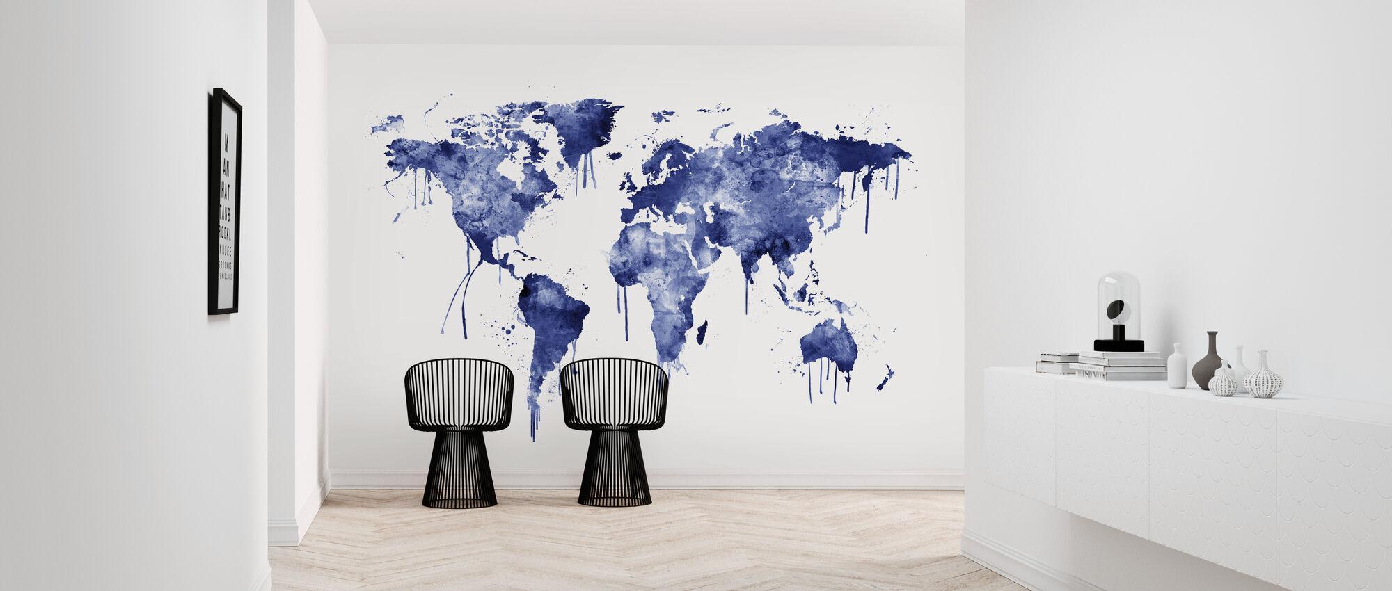 Vesiväri World Kartta Sininen - Tapetti - Aula