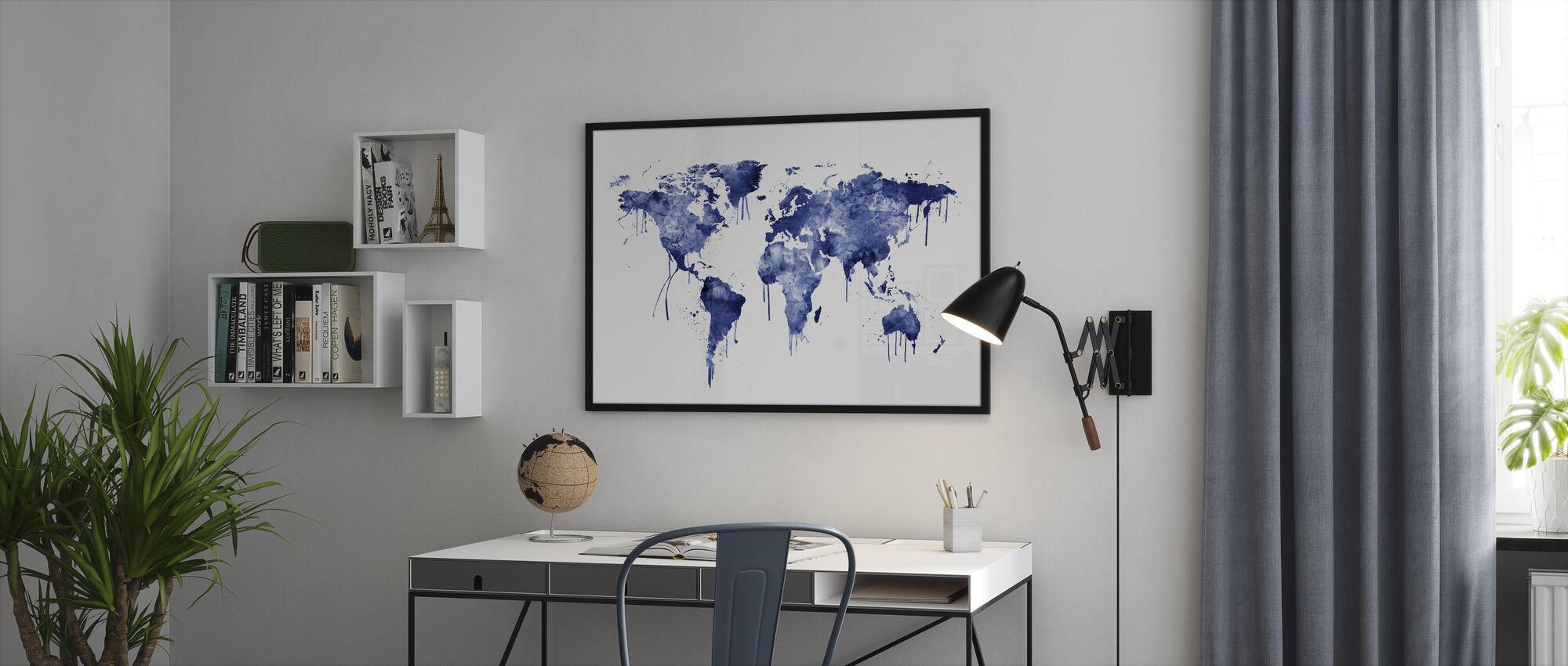 Akvarell World Map Blå - Innrammet bilde - Kontor