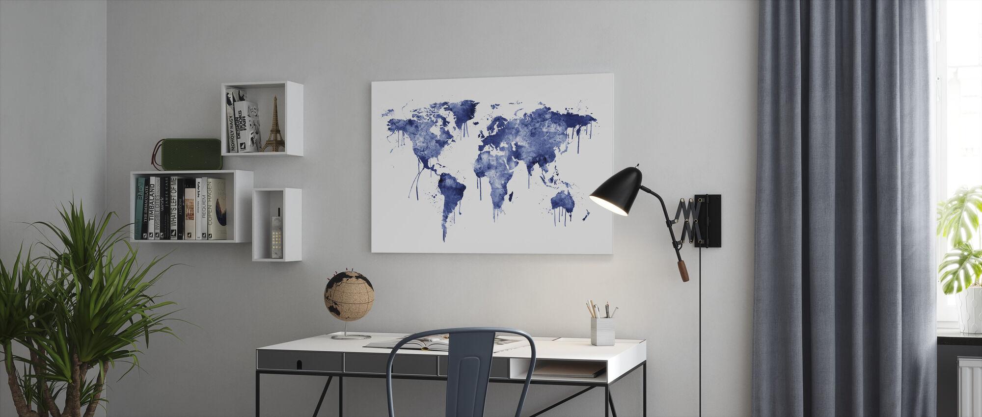 Watercolour World Map Blue - Canvas print - Office