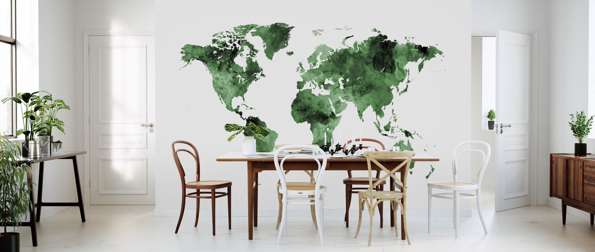 Watercolour World Map Green - Wallpaper - Kitchen
