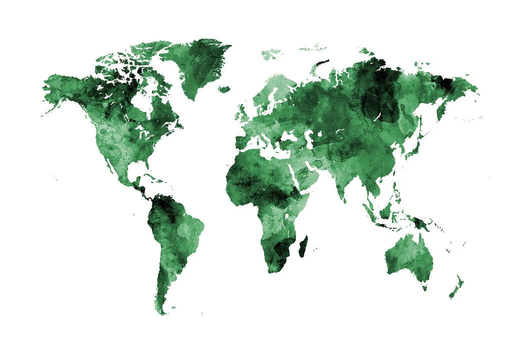 Watercolour World Map Green Made To Measure Wall Mural Photowall