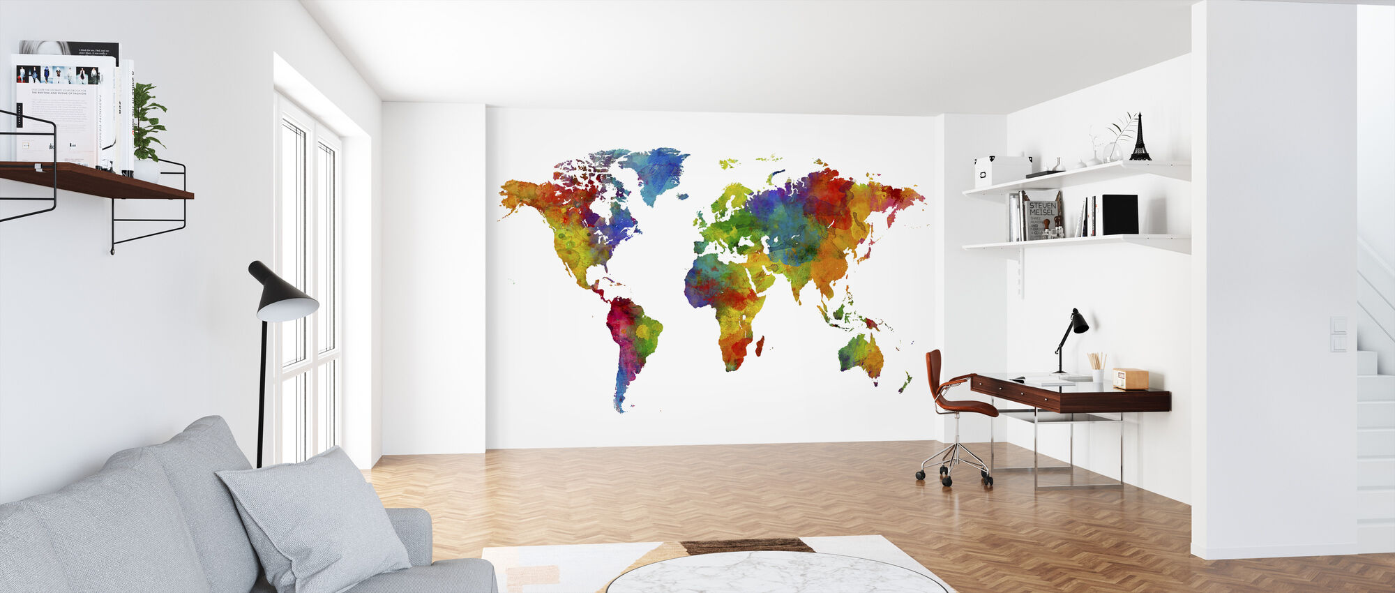 Watercolour World Map Multicolour - Wallpaper - Office
