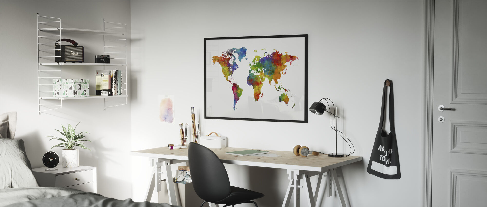 Akvarell Verdenskart Flerfarget - Innrammet bilde - Barnerom