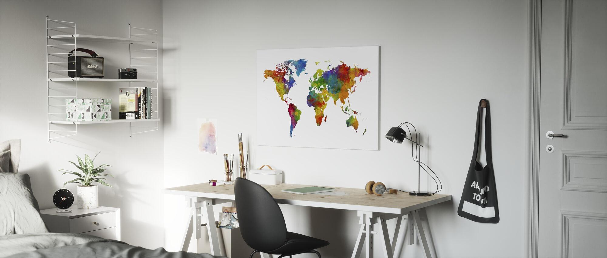 Watercolour World Map Multicolour - Canvas print - Kids Room