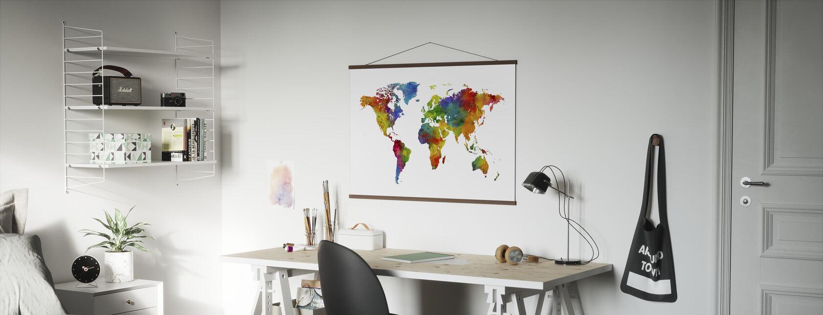 Akvarel verdenskort flerfarvet - Plakat - Kontor