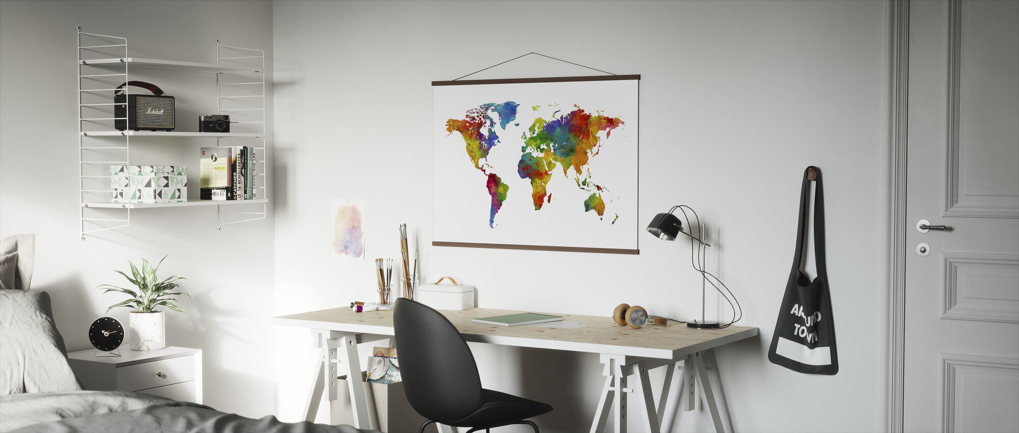 Watercolour World Map Multicolour - Poster - Office